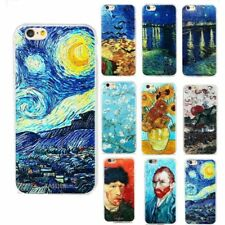 Ultra Slim van Gogh Pattern Rubber Soft TPU Back Case Cover for iPhone 7 Samsung