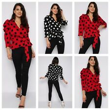 WOMENS LADIES TIE WAIST BELTED 3/4 PUFF SLEEVE WRAP OVER V NECK POLKA DOT TOP