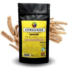 Ashwagandha Root Extract Capsules - 5000mg Equiv - 5% Withanolides + FREE GIFT