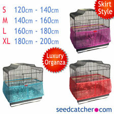 Luxury Organza Bird Cage Seed Catcher Guard Tidy Skirt Style Blue Pink Red