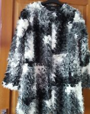 ZARA FAUX FUR TWO TONE TEXTURED BLACK AND WHITE JACKET COAT BNWT SIZES XS&S&M