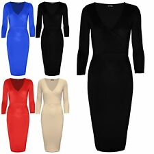 Ladies Womens V Neck Wrap Cross Over 3/4 Sleeve Stretch Party Bodycon Midi Dress