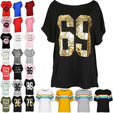 Womens Lagenlook Off the Shoulder Bardot I`m a Limited Edition Print T Shirt Top