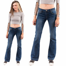 Womens Low Rise Bootcut Flared Jeans Blue Denim Flares Bellbottoms Frayed Ends
