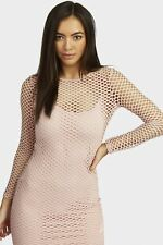 Red Fishnet Bodycon Mini Dress Womens Ladies New Bodycon Cocktail Party Evening