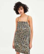 ZARA NEW STRAPPY DRESS MINI LEOPARD PRINT ANIMAL STRAIGHT CUT NECK SIZE S/M/L