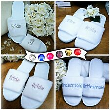 Personalised White Slippers Diamante Wedding Spa Guest Shoe Towelling Mini Font