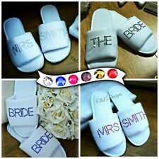 Personalised White Slippers Diamantes Wedding Spa Guest Shoes Towelling Bold