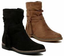 NEW WOMENS LADIES FLAT FAUX SUEDE SLOUCH LOW HEEL TASSEL DESERT ANKLE BOOTS