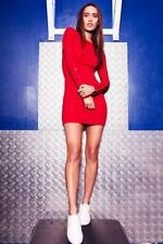 Red Popper Sleeve Bodycon Dress Womens Ladies New Bodycon Cocktail Party Evening