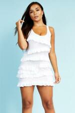 White Ruffle Jersey Mini Dress Womens Ladies New Bodycon Cocktail Party Evening