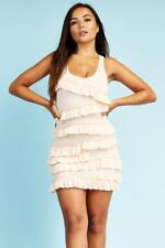 Nude Ruffle Jersey Mini Dress Womens Ladies New Bodycon Cocktail Party Evening