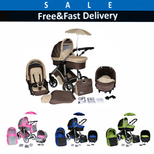 Modern Baby Pram Complete Travel System Pushchair 3in1 Carrycot Buggy Car Seat