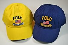 NWT POLO BY RALPH LAUREN NAVY BLUE OR GOLD USA FLAG BASEBALL CAP HAT ONE SIZE
