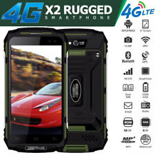 "5"" Unlocked 4G LTE Rugged Smartphone Waterproof X2 Cell Phone Dual SIM Quad Core"
