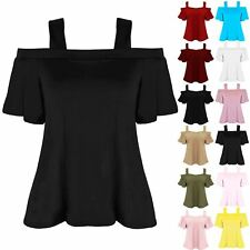 Girls Childrens Short Sleeve Off The Shoulder Strappy Flared Bardot Swing Top