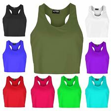 Womens Ladies Back Side Racer Muscle Sleeveless Cut Out Vest Tank Cropped Top