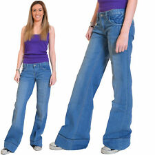 New Womens Light Blue Faded Low Rise Wide Flared Jeans Denim Flares Long Leg