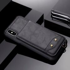 Vertical Flip Wallet PU Leather Card Holder Strap Phone Case Cover For iPhone