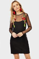Black Floral Mesh Mini Dress Womens Ladies New Bodycon Cocktail Party Evening