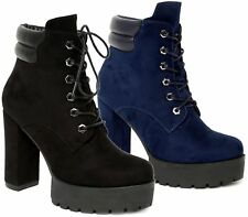 Womens Ladies Faux Suede Block High Heel Platform Lace Up Zip Party Ankle Boots