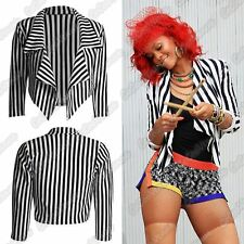 New Ladies 3/4 Sleeve Black White Striped Waterfall Cropped Blazer Jacket Coat