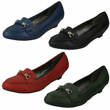 Spot On F9R352 Donna Mocassini Scarpe Nero, Verde, Blu Navy o Burgundy (R42A)