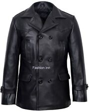 Men's Dr Who pea Coat Black Fitted Design Real Cow Hide Leather Jacket