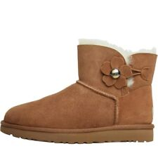 UGG Womens Mini Bailey Button Poppy Boots Chestnut