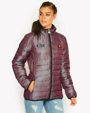 ELLESSE LADIES LEXUS WADDED HOODED FULL ZIP PADDED FITTED JACKET IN PURPLE
