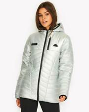ELLESSE LADIES OPALINE PADDED HOODED IN IRIDESCENT (SILVER) FULL ZIP FASTENING