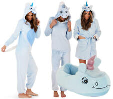 Ladies Blue Unicorn All In one Jumpsuit, Slippers, Pyjamas or Robe