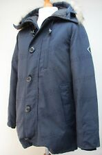 Men's Hardy Amies Savile Row London Black Goose Down Hooded Winter Parka M L New