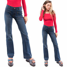New Womens Ladies Stonewash Blue Mid Rise Stretch Denim Flared Bootcut Jeans