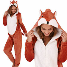 Cute, Cuddly Ladies Fleece Fox All in One Jumpsuit with 3D Ears and Tail
