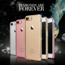 Flash Rhinestone Diamond Soft Plating Clear TPU Slim Phone Case Cover For iPhone