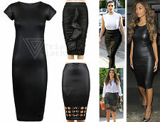 Womens Celeb Wet Look Bodycon Midi Dress Black Ruffle Kim K Pencil Skirt Nicole