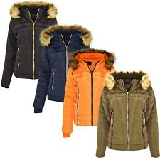 NEW WOMENS LADIES QUILTED WINTER COAT PUFFER FUR HOODED JACKET PARKA 4 COLOURS