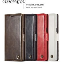 Luxury Flip Wallet Real Genuine Leather Card Holder Stand Phone Case For Samsung
