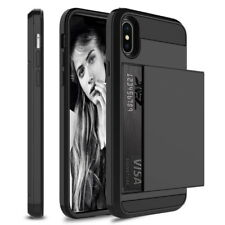 Luxury Hybrid Armor 2in1 Shockproof Card Slide Phone Case For iPhone XS MAX XR X