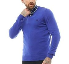 Mens FRED PERRY Classic Tipped V Neck Sweater Jumper Regal Marl Blue
