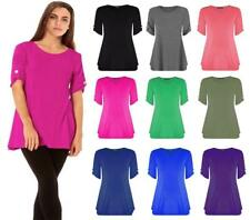Womens Ladies Plus Size Button Short Turn Up Sleeves Flared Swing Dress Long Top