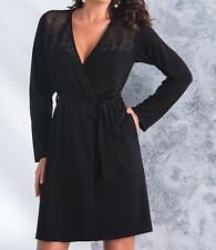 """Ladies Black Dressing Gown / Robe with Belt """"Paloma"""" - S M L XL"""