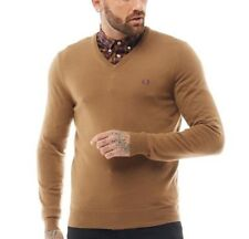 Mens FRED PERRY Classic Tipped V Neck Sweater Jumper Dark Caramel