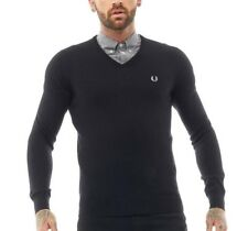 Mens FRED PERRY Classic Tipped V Neck Sweater Jumper Black