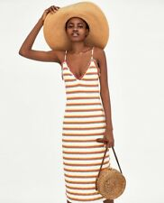 Zara Ribbed Strappy Multicoloured V-Neck Long Midi Dress Size S / M / L - BNWT