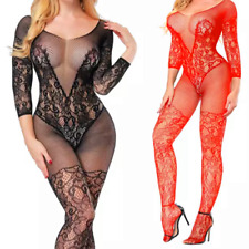 Sexy erotic lingerie floral bodystocking bodysuit open crotch nightwear UK stock