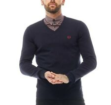 Mens FRED PERRY Classic Tipped V Neck Sweater Jumper Navy
