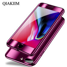 360° Slim Plating Mirror + Screen Film Full Phone Case Cover For Samsung iPhone