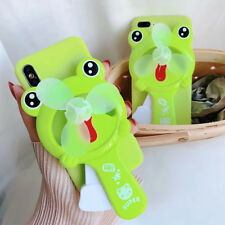 Cute Cartoon Frog Portable Mini Fan Soft Phone Case Cover For iPhone X 8 7 6
